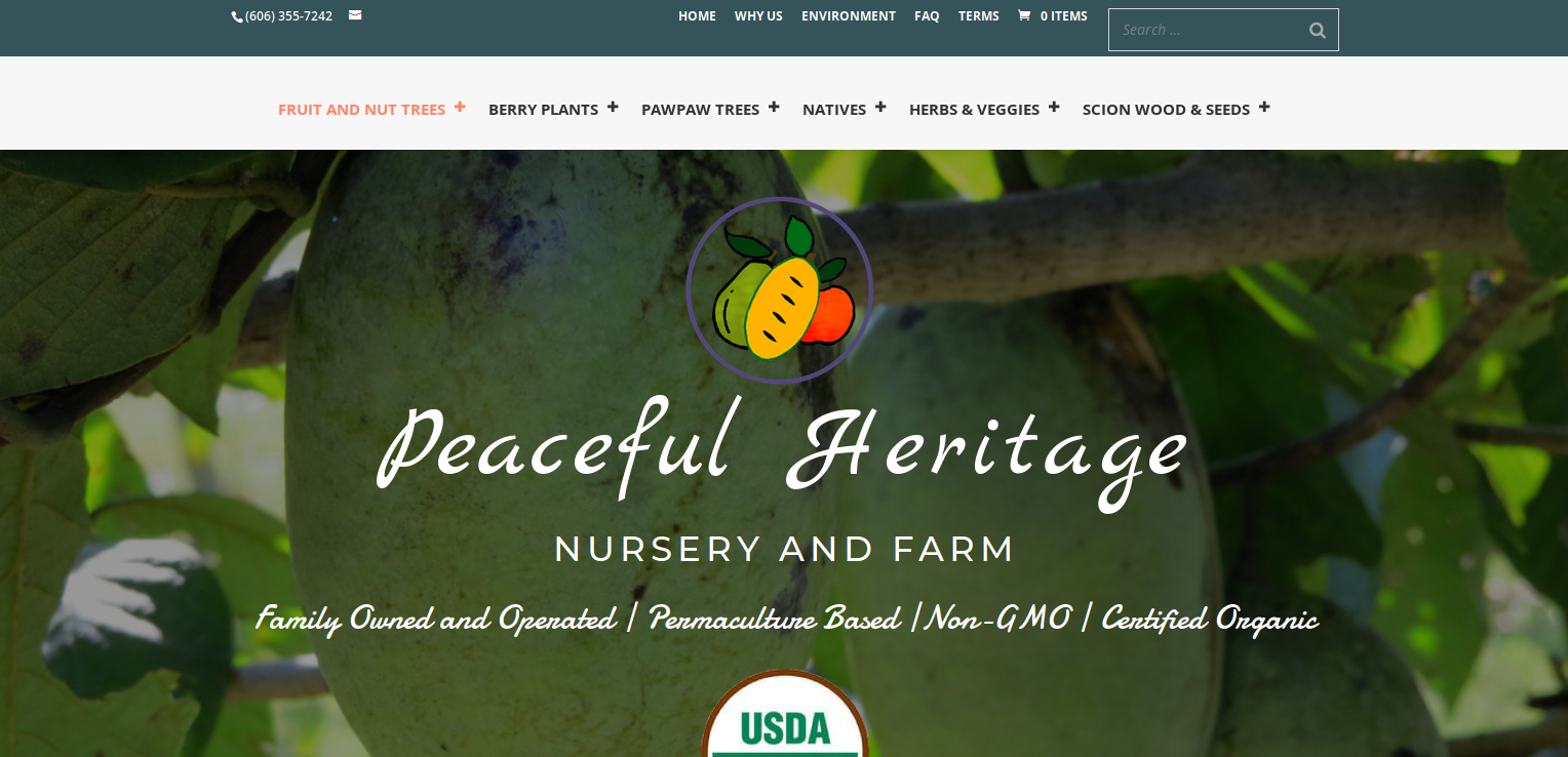 Home Page for Peaceful Heritage Farm and Nursery | 4Site Advantage WordPress Website Design Services